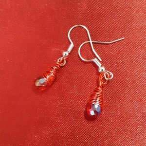 Wire wrapped red crystal earrings